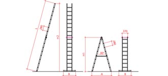 Víceúčelový žebřík - 2 pozice - nákres