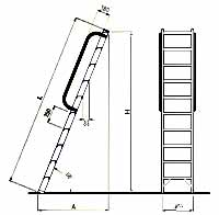 Rovný žebřík - nákres
